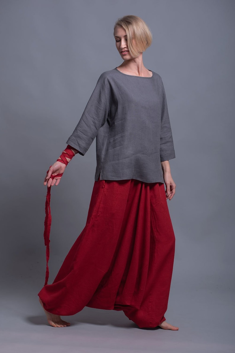 Linen Harem Pants for Man / Woman with Pockets Red Flax image 0