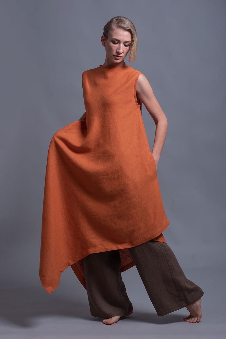 108886edabe YUCCA Long Linen Tunic Dress Asymmetrical Loose Fitting