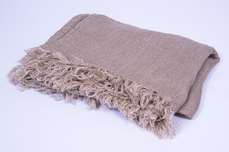 Generous Linen Shawl Wrap  Wide Long Flax Wrap  Boho Gold image 0