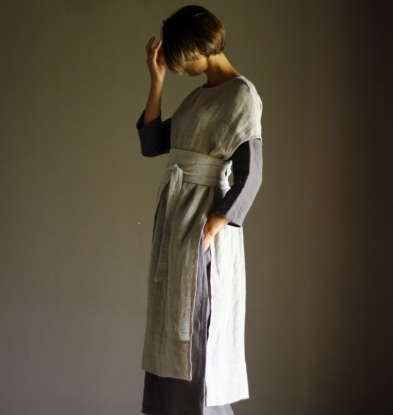 Outfit  3 pieces  Large Linen Dress DOR  Linen Tunic SANGA image 0
