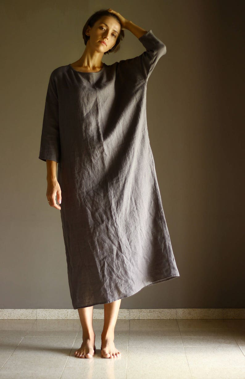 41a6f19ab27 Linen Simple Dress Plus Size Long Maxi Dress with side