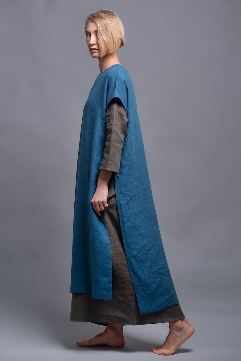 ad2b077687ab Vestito abito lungo di lino e minimalista sciolto montaggio