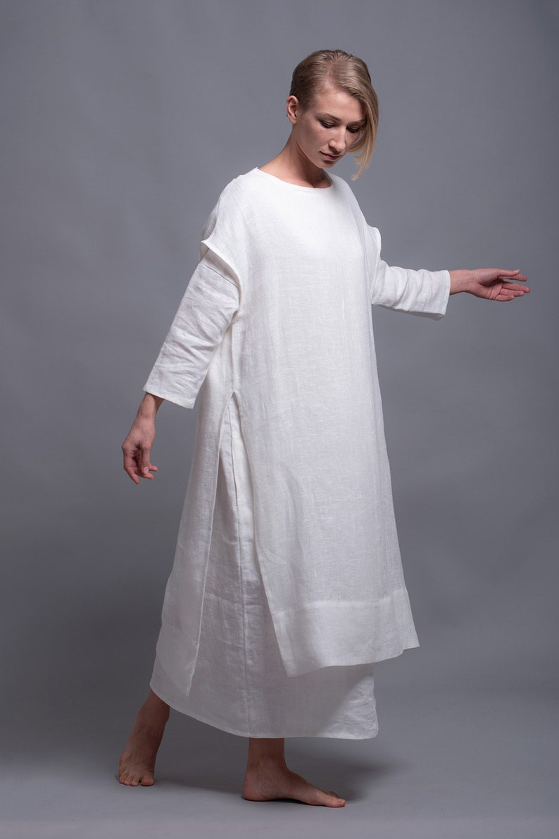 White Linen Tunic Dress SANGA Viking Wedding White Dress image 0
