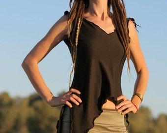 Brown Asymmetrical Top -  Psy Clothes, Fairy wear, Hippie, Gypsy, Goa style