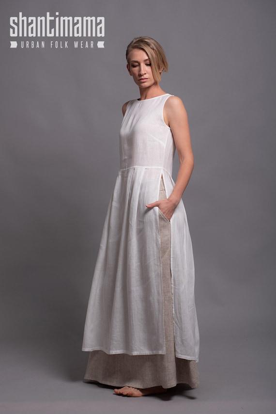 White Linen Tunic NERO Soft Linen Summer Day Dress Lagenlook  7375c8eb8