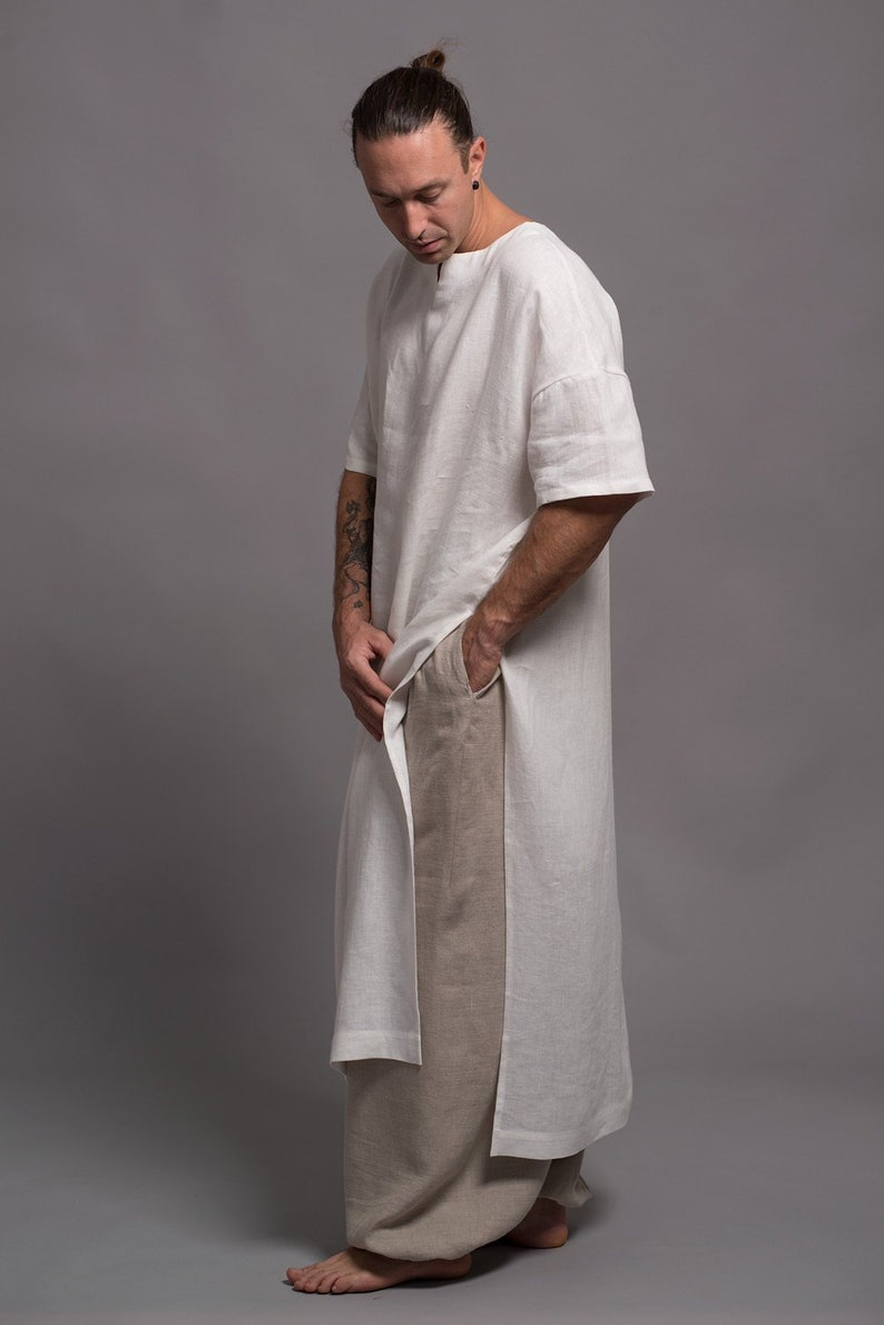 Long Linen Shirt for Men White Flax Tunic Mens Dress Kaftan image 0