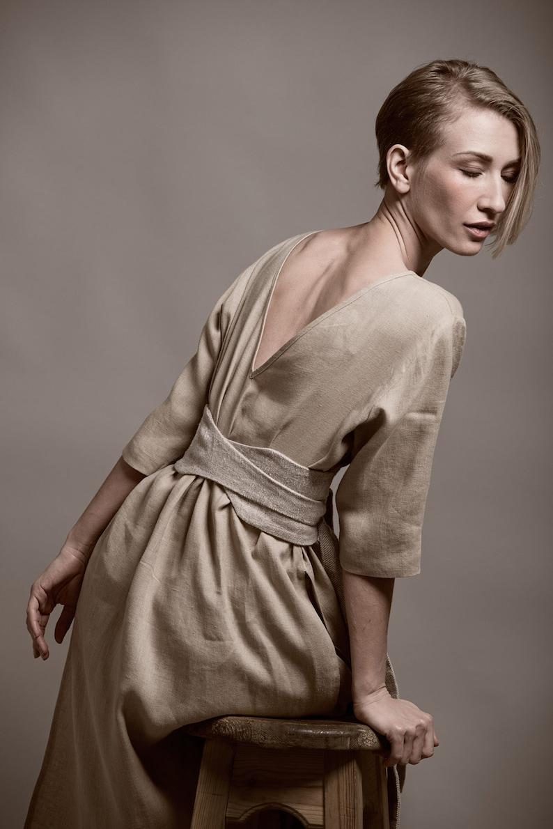 Linen Obi Belt MARU High Waisted Wide Wrap Belt Womens Sash image 0