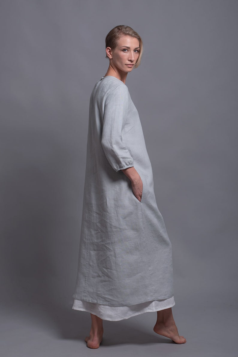 NIKA Loose Linen Dress Long Washed Flax Dress with sleeves image 0
