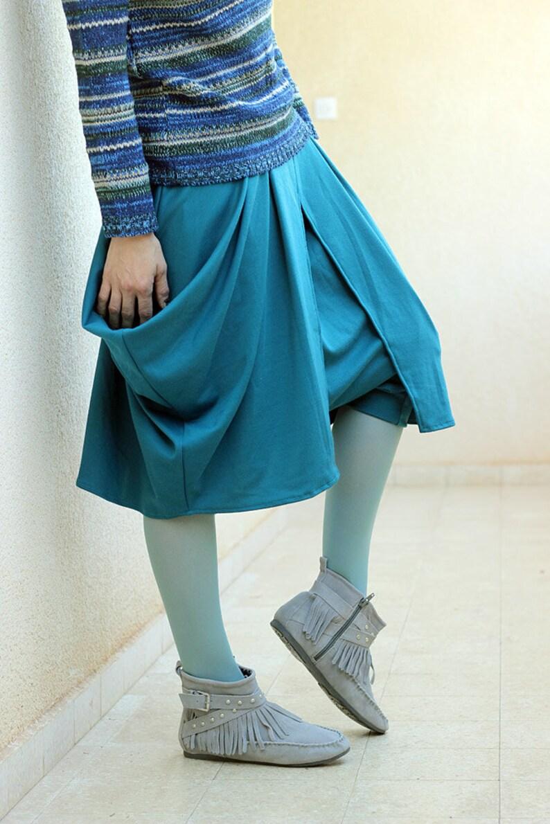 a9db1857bd442 Turquoise Boho Harem skirt pants. Women s drop crotch