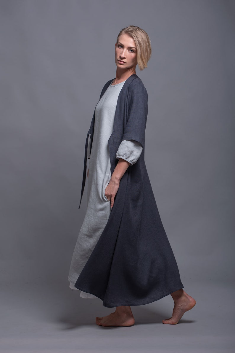 URSA Boho Linen Coat Oversized Kaftan Dress for Women Maxi image 0