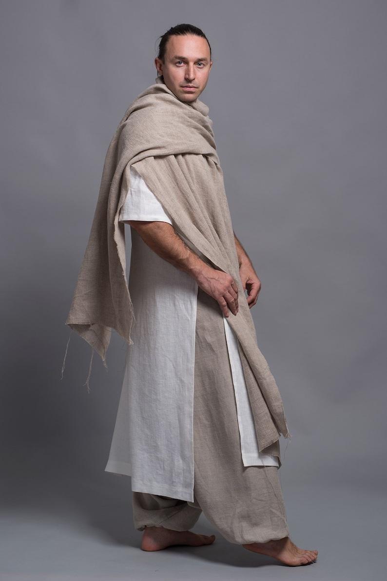 Men's Outfit  3 pieces  Wide Leg Harem Pants Long Linen image 0