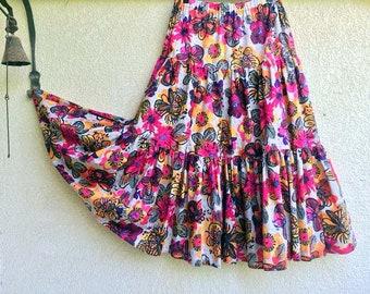 Long Gypsy Skirt - Tiered Maxi Skirt - Boho Bohemian skirt -  Light Summer cotton skirt