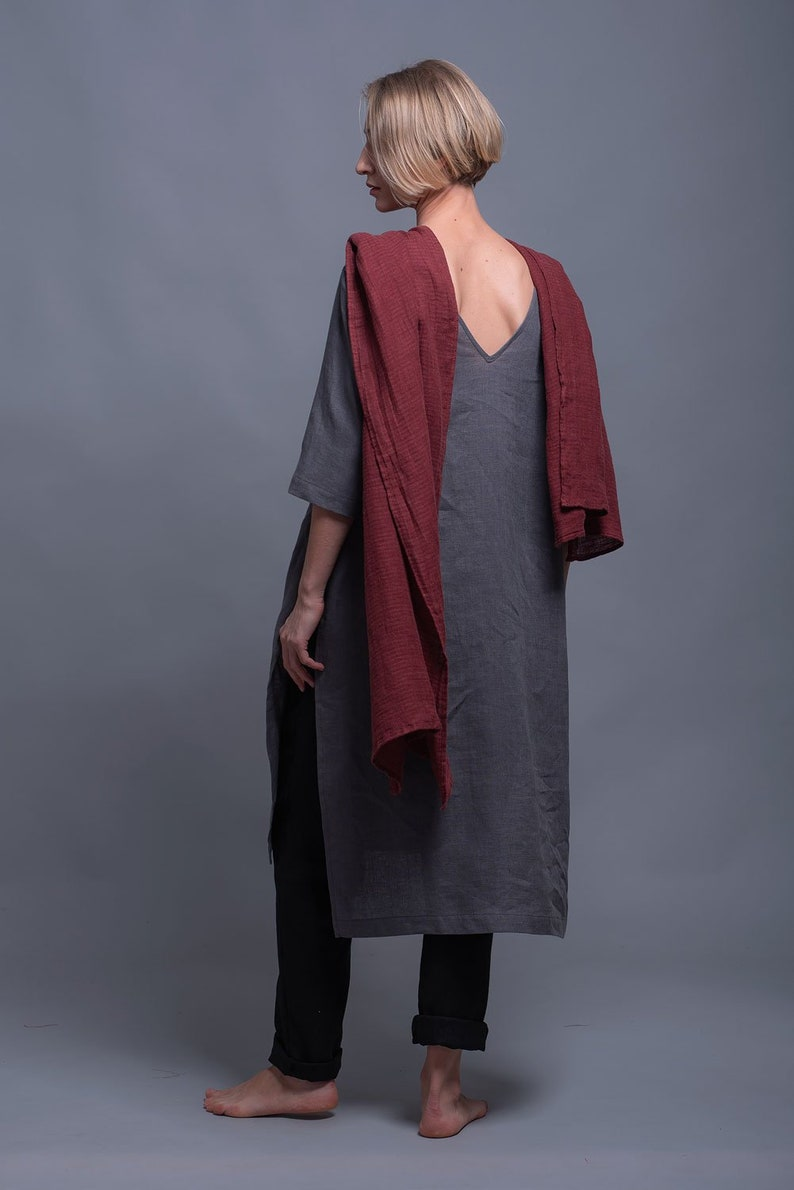 MIRA Open Back Tunic Top Natural Linen Midi Loose Fitting image 0