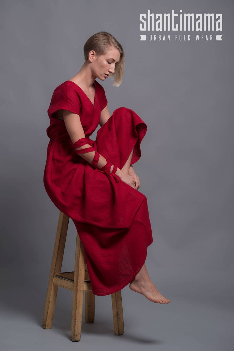 Red Long Dress EVA with open back Linen Maxi Dress Summer image 0