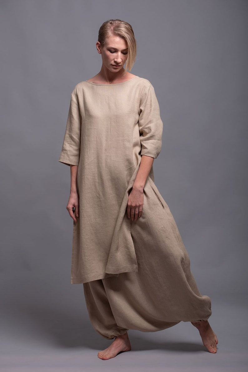 138034d4e81 MIRA Linen Tunic Dress for Women Asymmetrical Maxi Flax Top