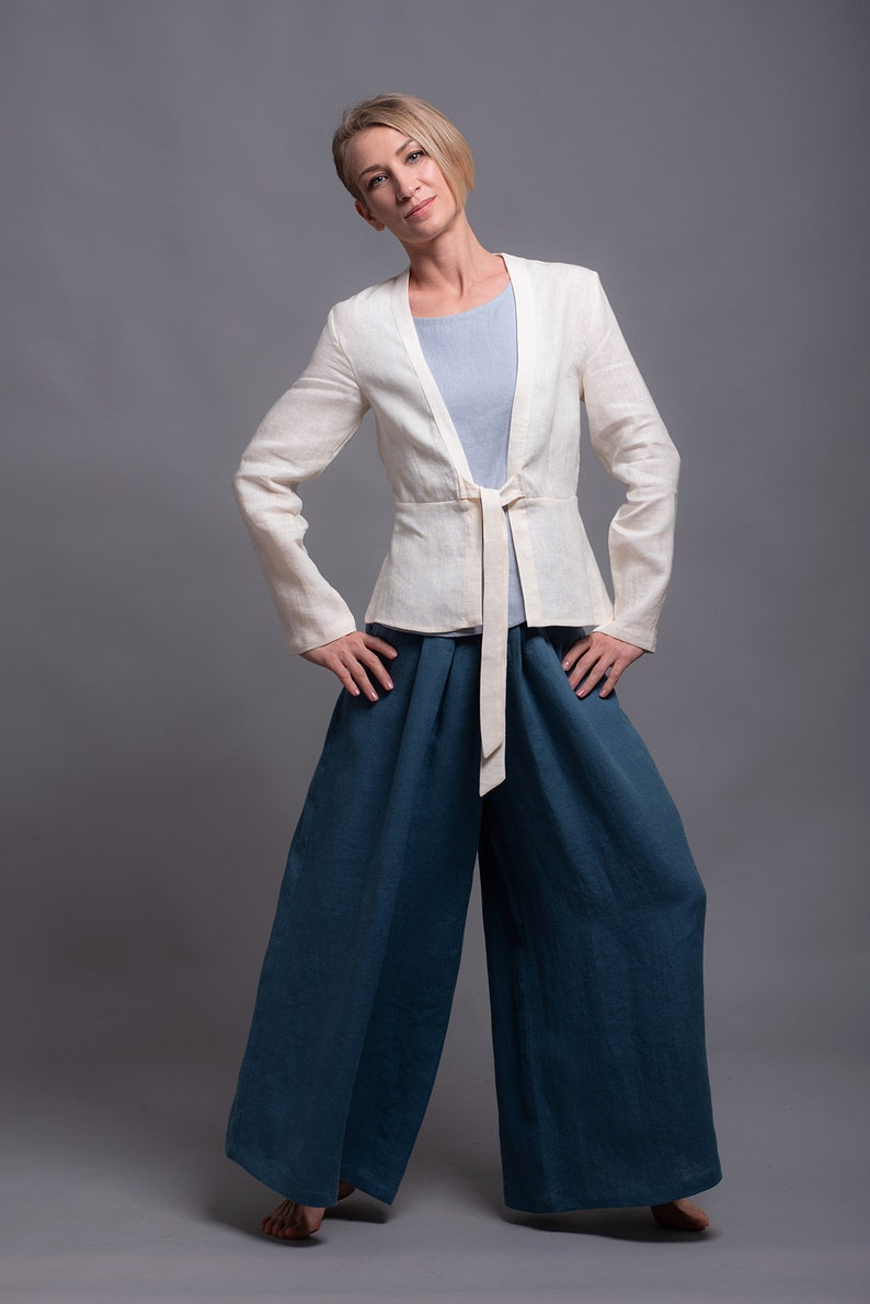 a46ca52e148 Palazzo Linen Pants RANI for women Flax Summer Maxi Trousers