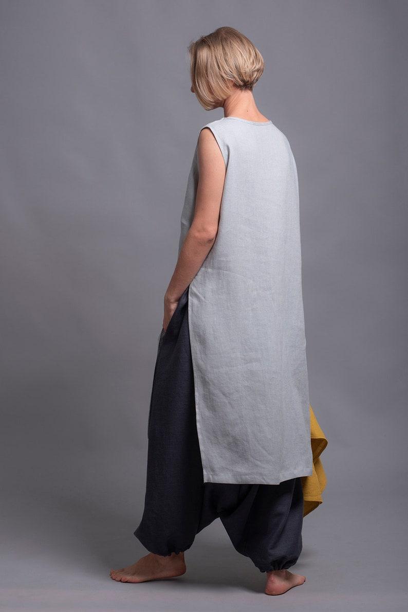 f0a54caa9fc Linen Tunic Top KENI Oversize Loose fit Sleeveless V neck