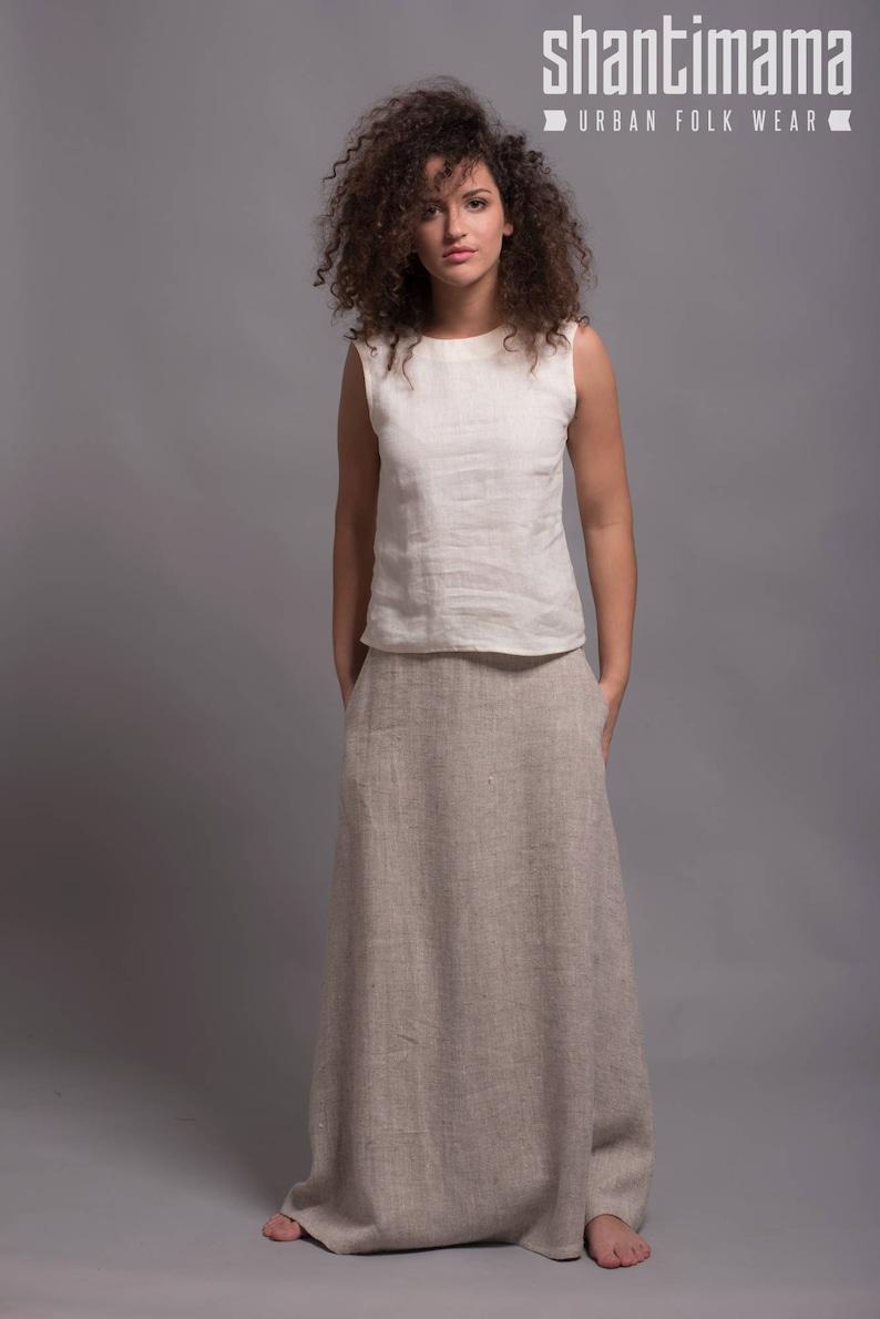 Linen Long Skirt  AIRA Linen Maxi skirt with pockets Plus image 0