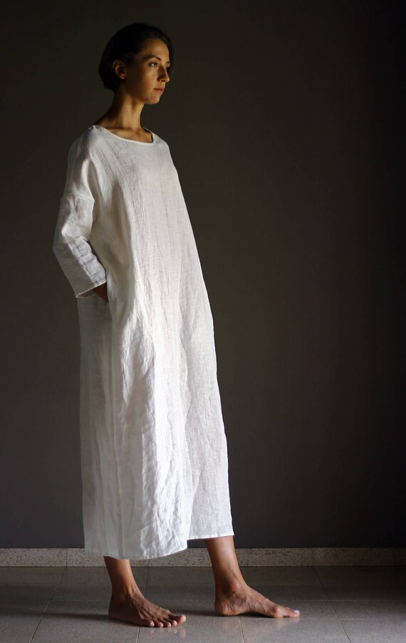 Hedendaags DOR wit linnen jurk Lange extra grote Losse kaftan jurk plus | Etsy IP-27