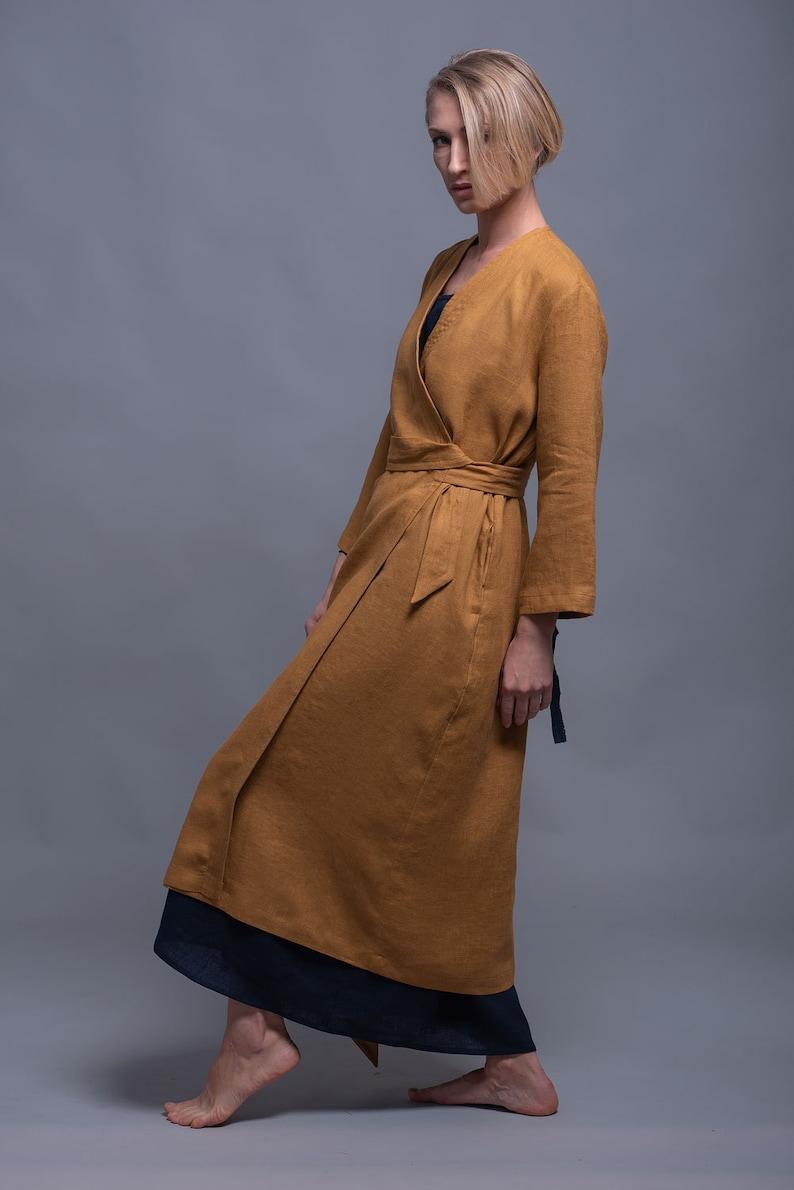 Mustard Linen Wrap Kimono Dress ADAME Washed Linen Cardigan image 0