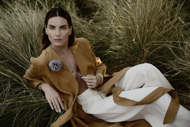 ADAME Linen Kimono Cardigan  Mustard Wrap Dress  Flax image 0