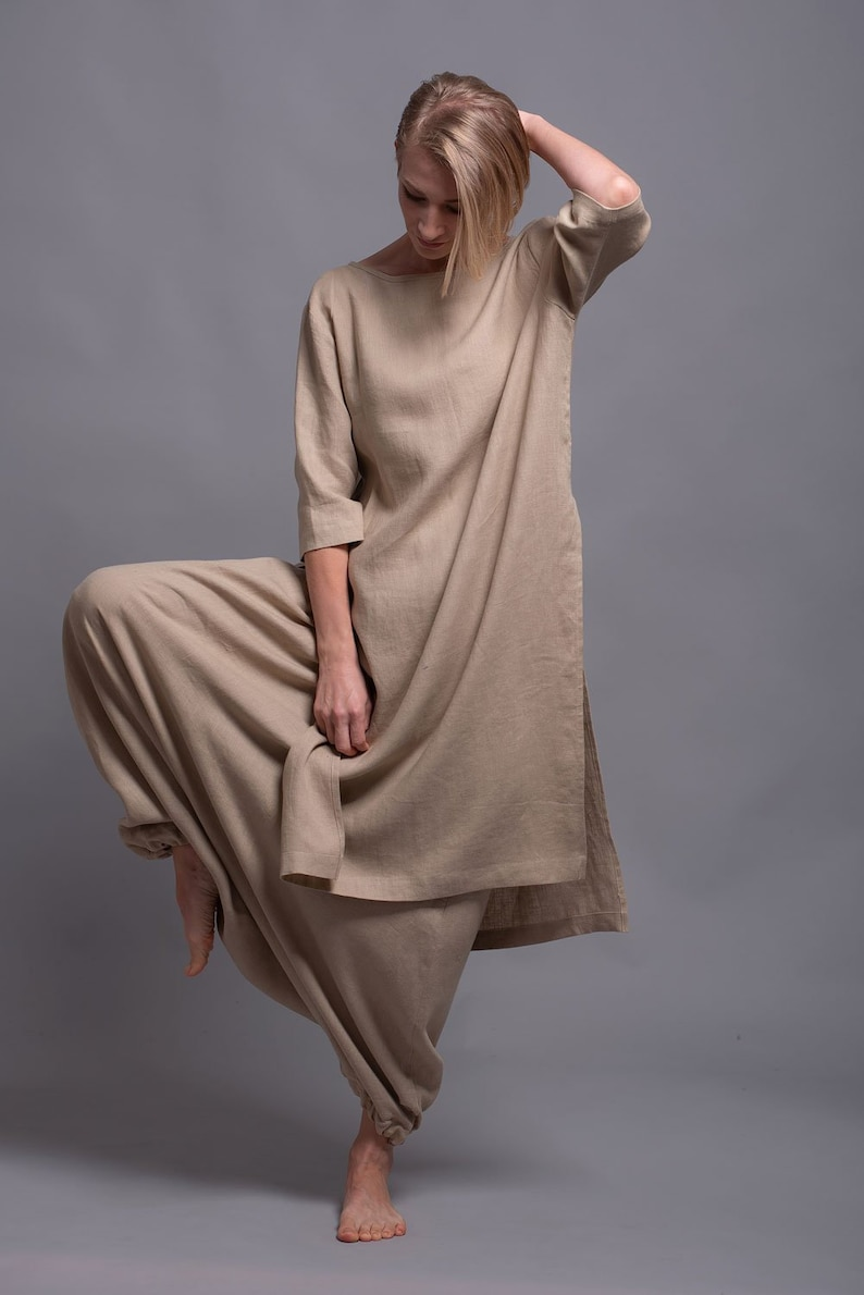 JIVA Drop Crotch Pants for Women with Pockets Linen Loose image 0