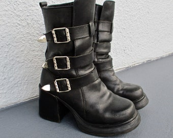 4816d684fa21 90s Goth Boots Black Leather Platforms Motorcycle Boots Silver Buckles Size  8.5 Biker Punk Festival Boots Wicked Road Warrior by Vibram