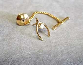 8fa852c1cc5f Gold Wishbone Tie Tack Tie Clasp Tie Clip Vintage 80s Tiny Lucky Charm with  Cubic Zirconia Father's Day Gift Comes with Box as Shown