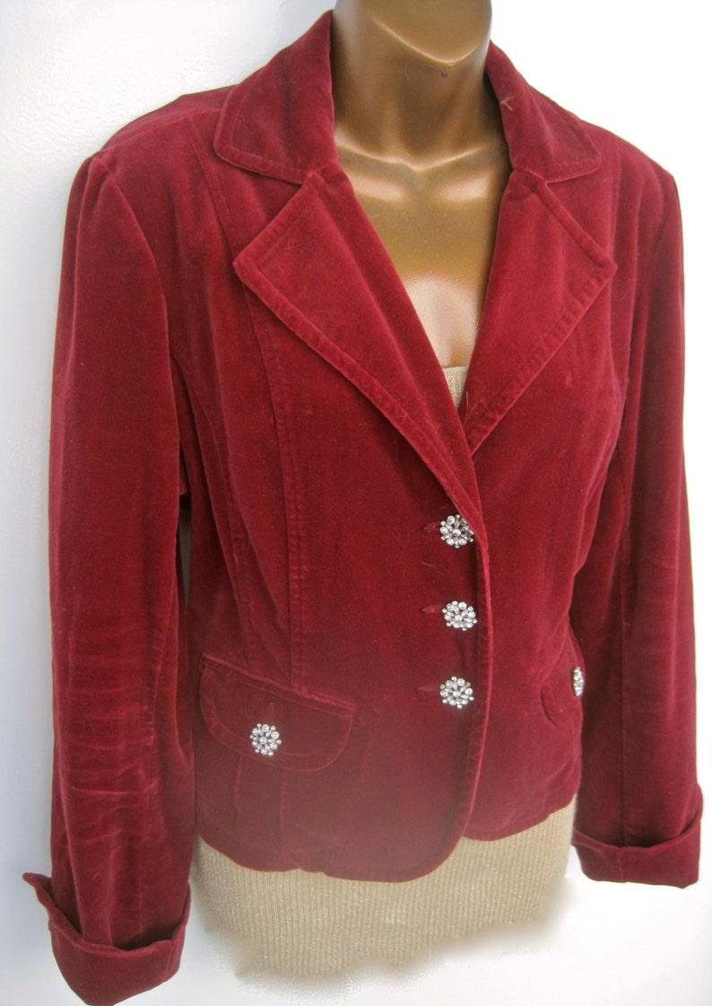 6c4ccb9605b3 SAMT Jacke Strass Knöpfe Dunkel rote festliche Größe 12 Blazer Mittel  Baumwolle samt Jahrgang kurze 3 Knopf versehen Manschetten Taschen