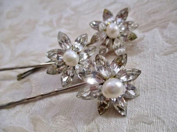 Rhinestone Pearl Flower Hair Pins SET of 3 Floral