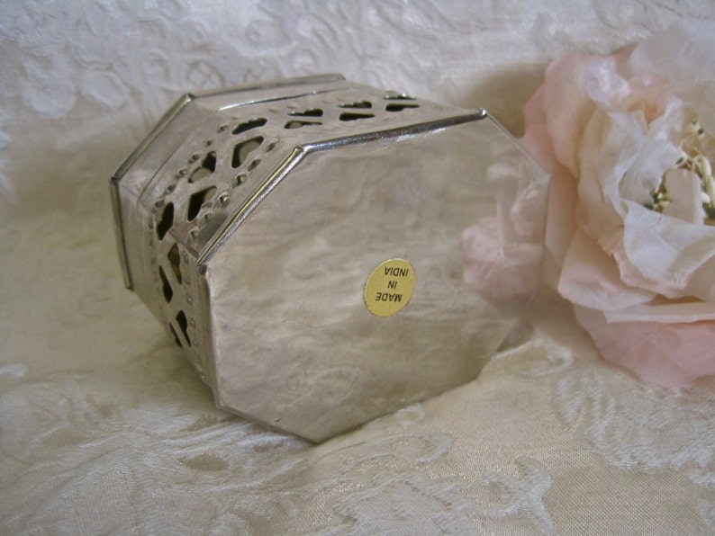Silver Heart Box Vintage Trinket Box Made in India Cutout Hearts Metal for Jewelry or Potpourri Octogon Shape a Touch Shabby Chic