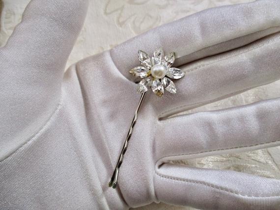 Rhinestone Pearl Flower Hair Pins SET of 3 Wedding