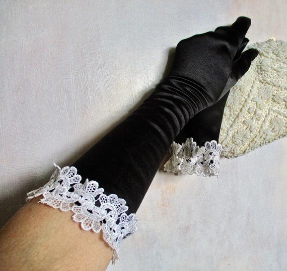 Black Gloves White Lace Trim 3/4 Length Royal Asco