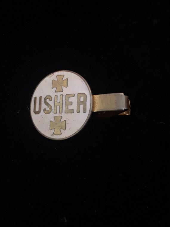 Usher Tie Clip Vintage Tie Bar Nice Design Gold Tone Gift for Dad Brother Husband