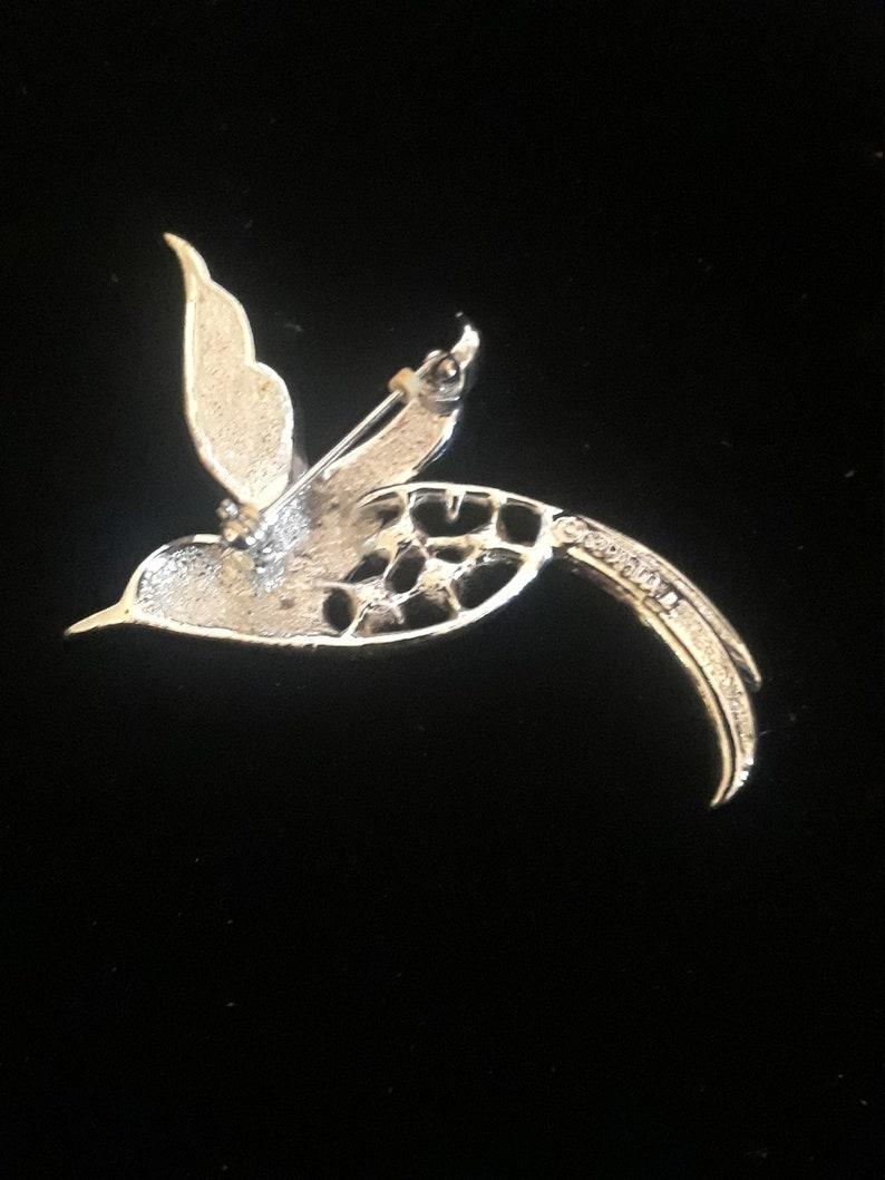 Vintage rhinestone crystal silver tone Sarah Coventry hummingbird pin brooch