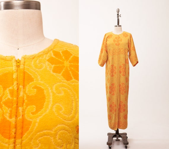 1960s Sears Robe, Two Tone Yellow, Terry Towel Dre