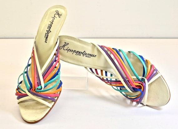 1980s HipOppoTamus Brand, Rainbow Strappy, Wedge M