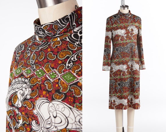 1960-70s Goldworm, Paisley Print Dress, Stylized E