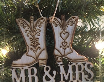 cowboy boots christmas ornament cowboy christmas ornament rustic christmas country christmas redneck christmas ornamentwedding ornament