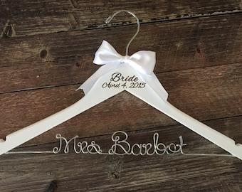 Wedding Hanger, Brides Hanger, Bridal Hanger, Wedding Date Hanger, Vintage Wedding, Rustic Wedding Hanger, Personalized Hanger, Name Hanger