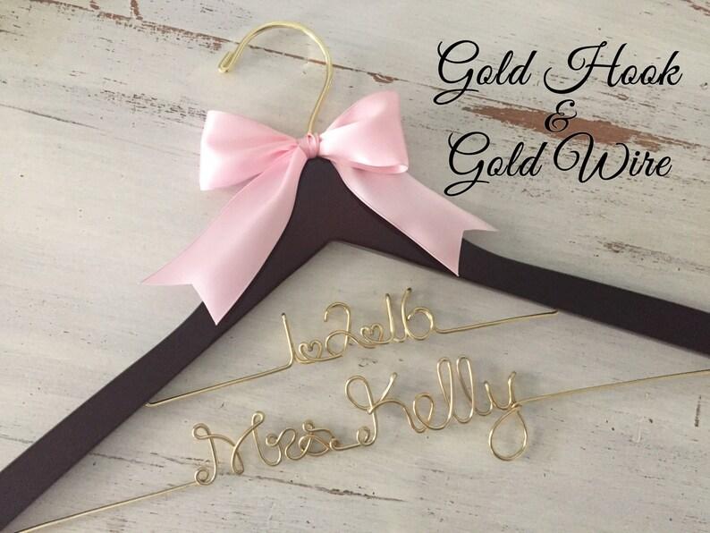 Bridal Hanger Personalized Bride Hanger Gold Wedding Name Hanger Gold Wire Wedding Hanger Brides Hanger Mrs Hanger Personalized Gift