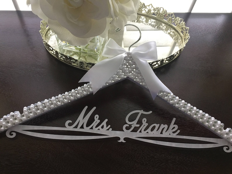 Personalized Custom Name Hanger Bride Hanger Rhinestone Wedding Hanger Bling Hanger Bridal BLING Hanger Pearl Wedding Hanger,