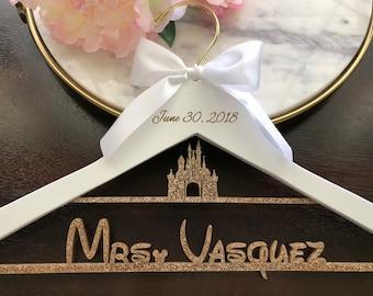 Disney Castle Hanger, Cinderella Wedding Hanger, Disney Bride Hanger, Disney Wedding Gift, Cinderella Castle Engagement, Custom Name Hanger