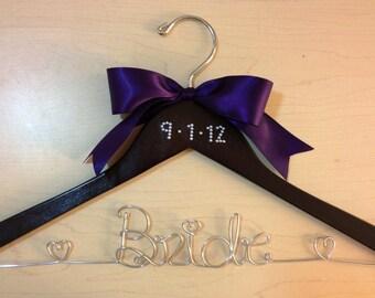 Bride Wedding Hanger with CRYSTAL OR PEARL Wedding Date