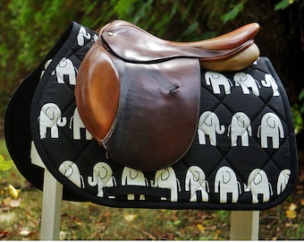 Custom Saddle Pad Elephants Many Colors - MADE TO ORDER