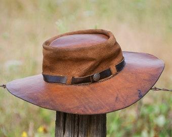 7fe27c85571 1960s Leather Hippie Hat Handmade w  Sterling Buffalo Nickel Wide Brim Sun  Hat