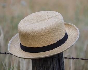 7cd9b7b4 1960s Christys London Folder Style Natural Straw Panama Hat Size 7 1/4