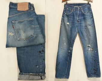 24c13067 1950s Levis 501 Big E Redline Selvedge Indigo Denim Single Stitch Work Jeans  27 x 30