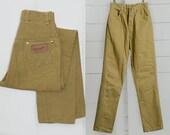 60s Wrangler Mustard Yellow Cotton Denim High Waisted Mod Skinny Jean 24 x 28