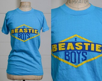 a78e831611713d 80s Beastie Boys Bootleg Hip Hop Blue Cotton T Shirt